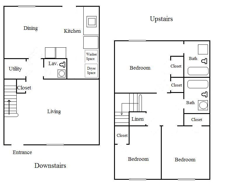 Two bedroom with den townhouse floor plans bedroom 2 5 for Townhouse floor plans 2 bedroom
