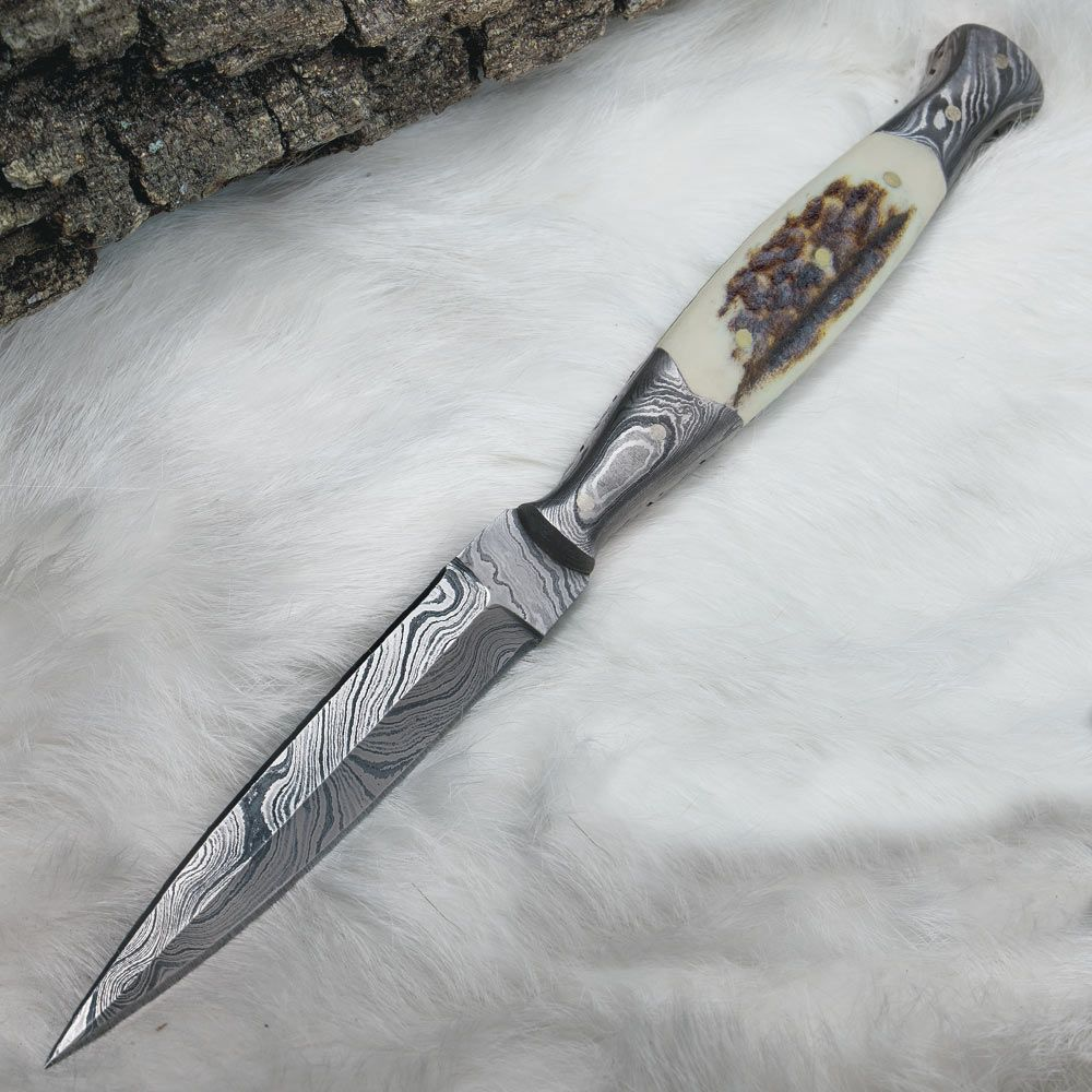 Timber Wolf Full Tang Damascus and Stag Dagger with Sheath | BUDK.com - Knives & Swords At The Lowest Prices!