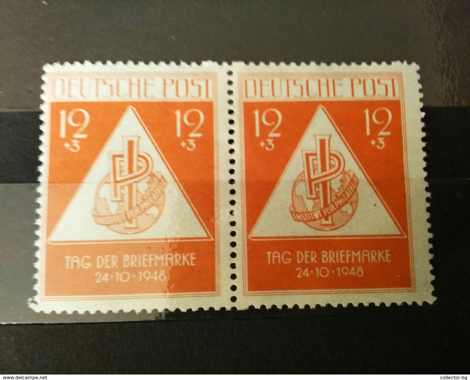 RARE PAIR GERMANY DEUTSCHE 1948 12+3 MARK TAG DER