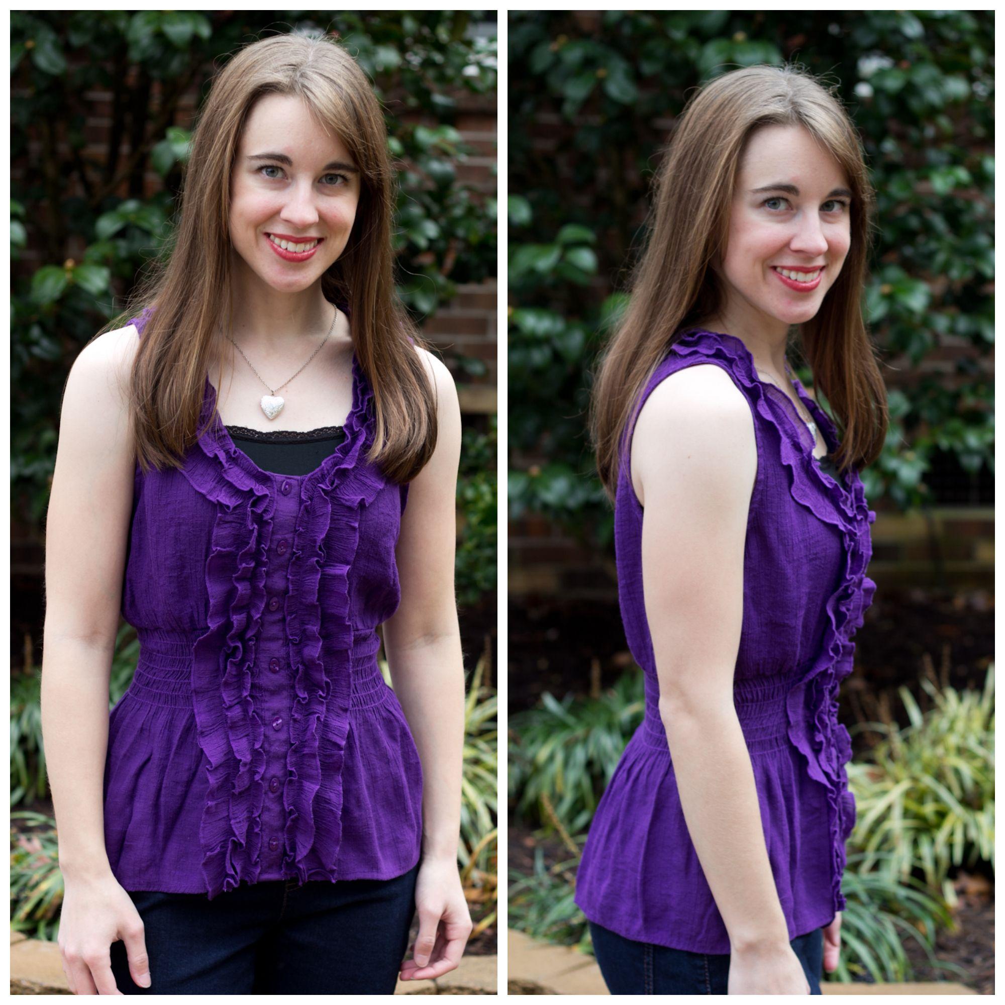 Purple frilly sleeveless shirt