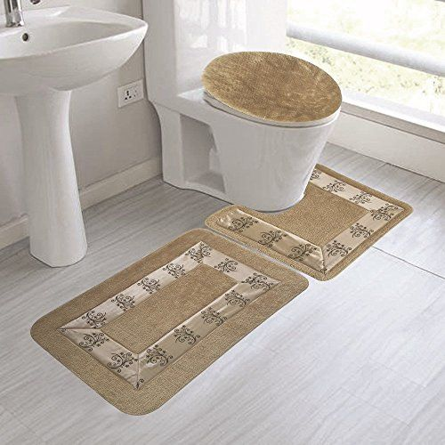 Gorgeoushomelinen 5 3pc Taupe Tan Elegance New Style Fl Bathroom Mat Set With Contour Toilet Lid Cover And Bath