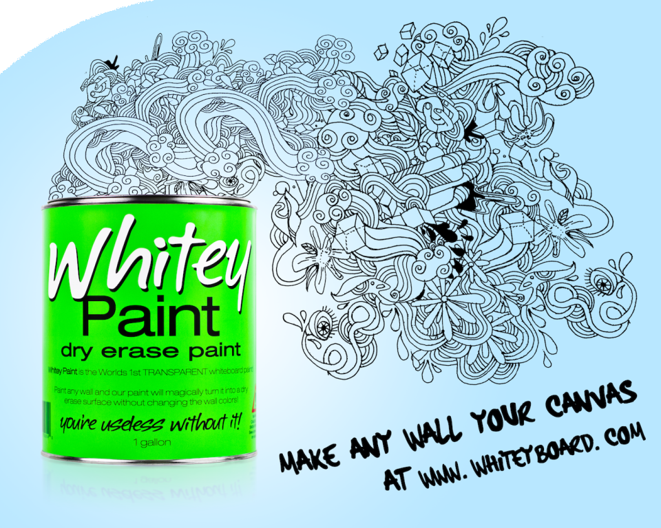 WhiteyBoard Paint will help you turn blank, useless walls into great productivity tools. Our paint is essentially a clear coating that you apply to your wall to turn it into a big dry erase surface. Since it's clear, you could create a blue board, green board, magenta board, or whatever color dry-erase board you want.  $75 for 30 sq ft.