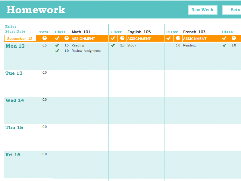 Homework Schedule Template Teachers and parents can use