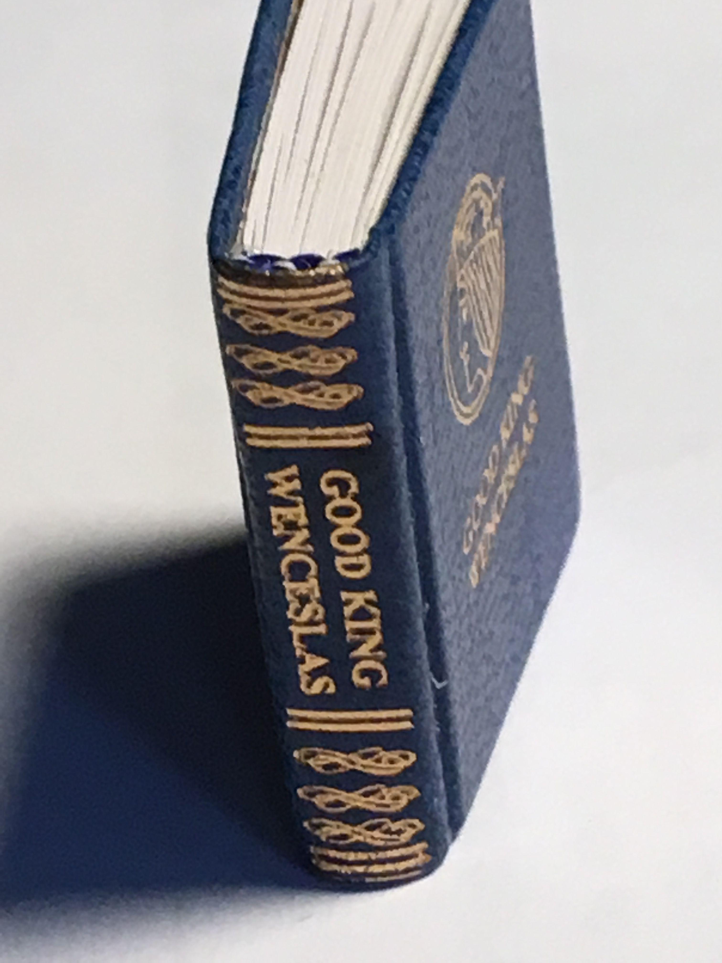 Barbara Raheb Pennyweight Press Igma Fellow Good King Wenceslas By John Mason Neale Blue Leather Cover Stampe Leather Cover Blue Leather Hand Coloring