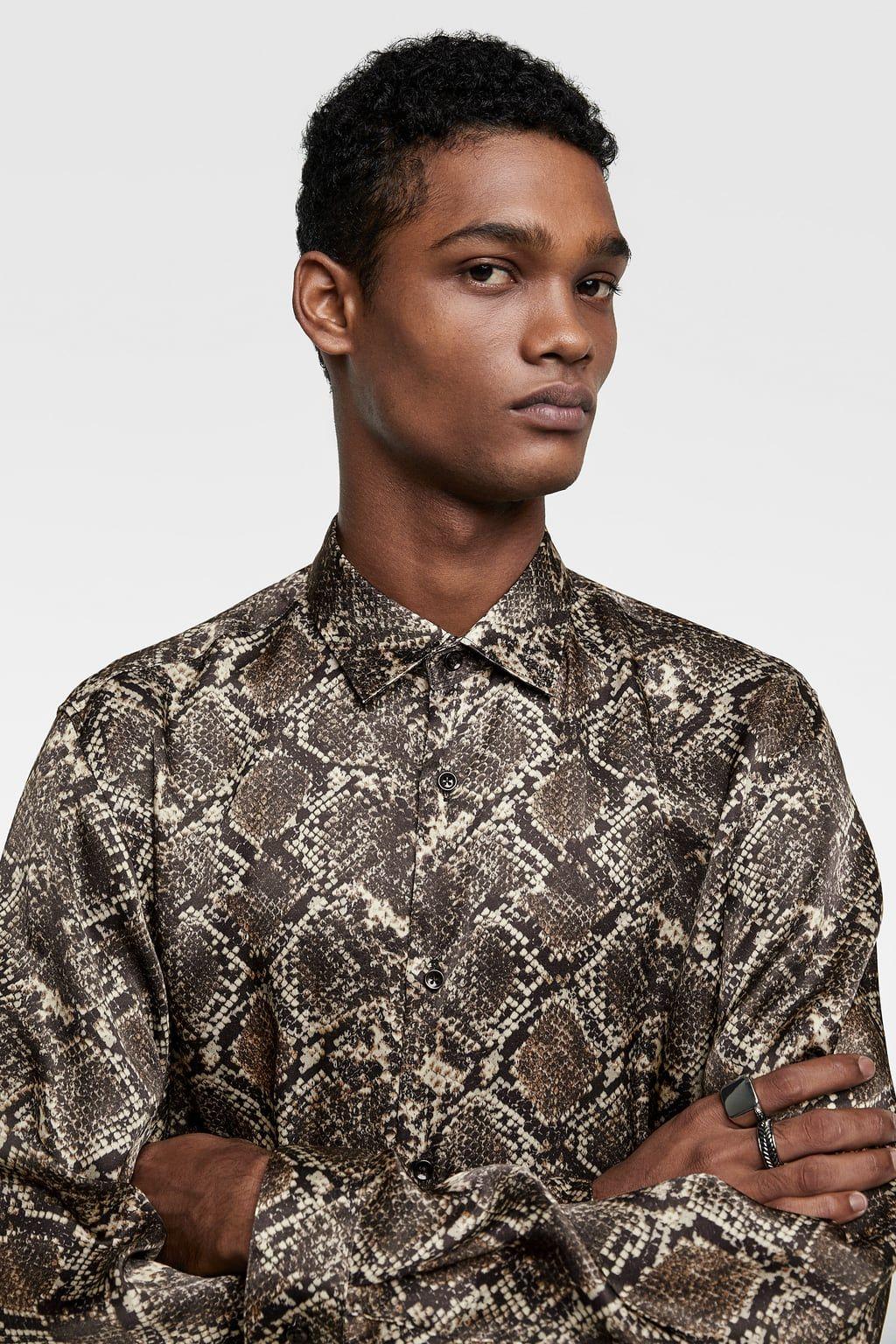 769eb4fd5b0ef0 SNAKESKIN PRINT SATIN SHIRT from Zara | Snakeskin Shirts for Men in ...