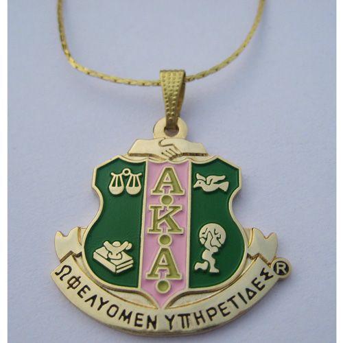 Alpha Kappa Alpha shield necklace