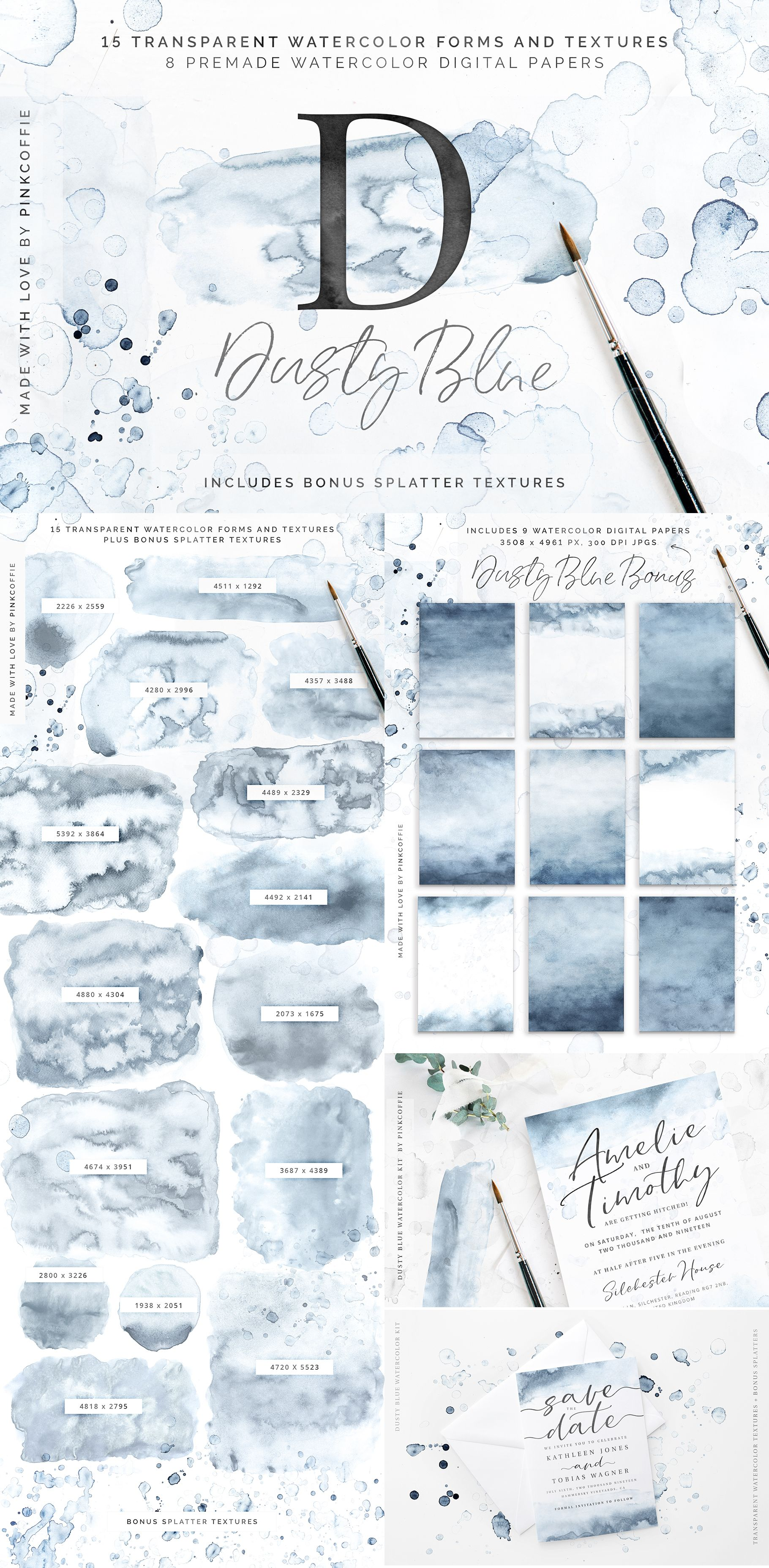 Dusty Blue Watercolor Textures Kit Watercolor Kit Watercolor