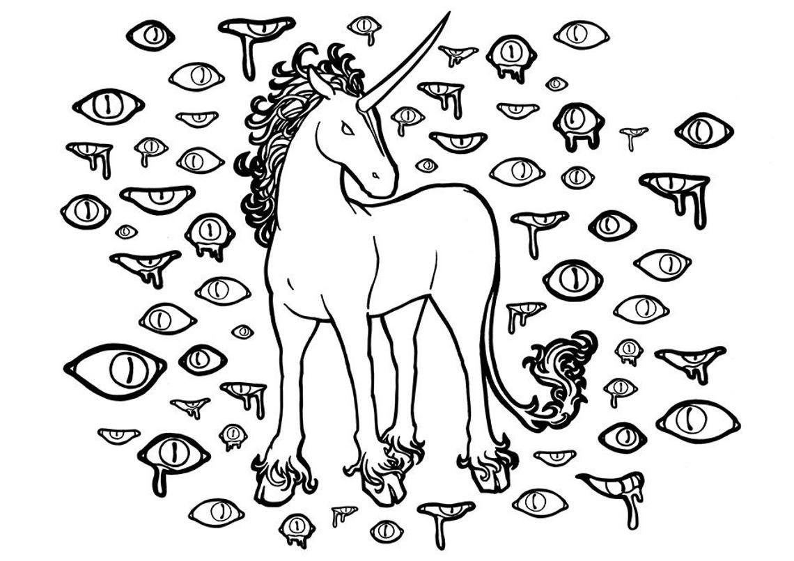 Image 0 Unicorn Coloring Pages Scary Eyes Evil Unicorn