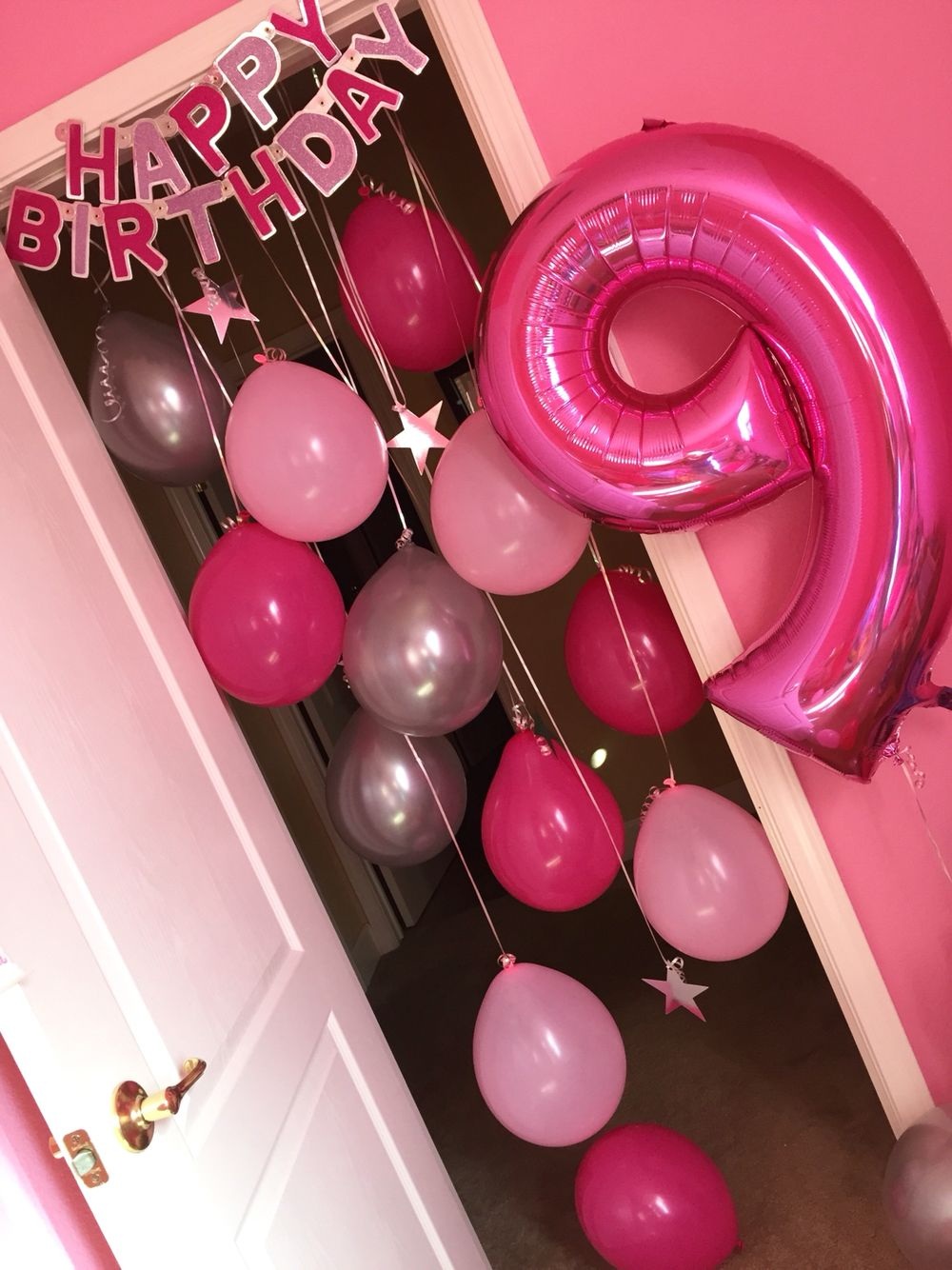 Very Birthday Morning Surprise Idea -Hanging balloons and birthday  DN52