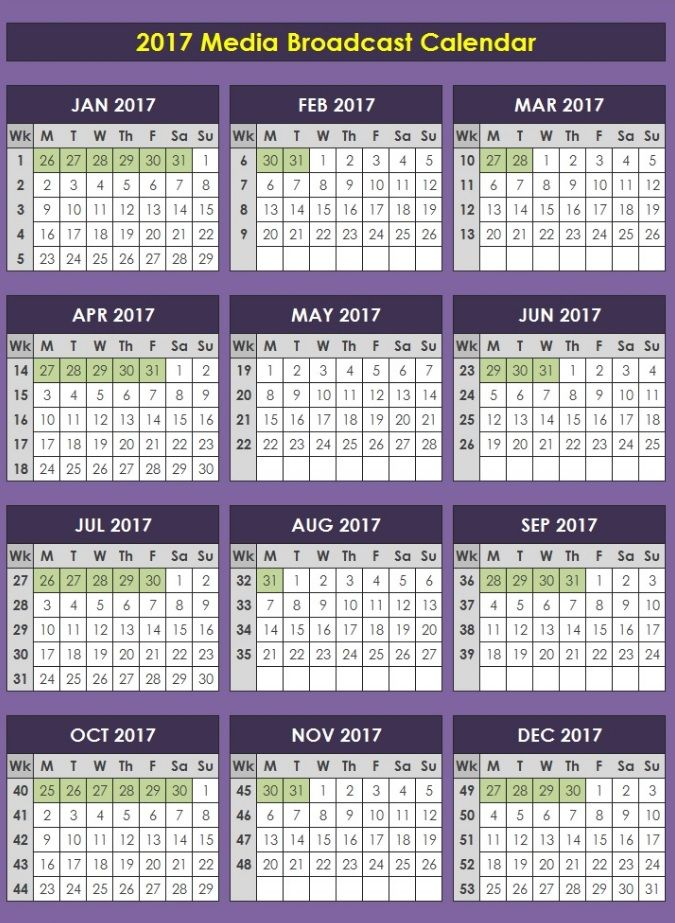 2017 Media Broadcast Calendar for all you #MediaBuying and - steps for creating a grant calendar