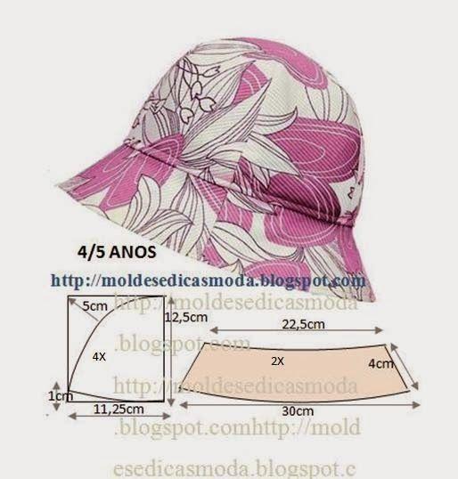 Moldes Moda por Medida  CHAPÉU DE SOL 4 5 ANOS. Más 8eba8421ae6