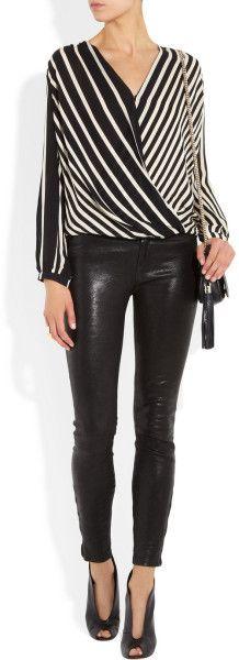 2b9e7366c2c11d Women's White Striped Silk Georgette Top | fashion | Inspiración, Me ...