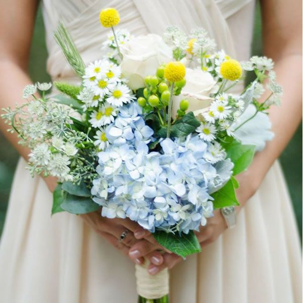 Rustic Relaxed Flowers Yellow Bridal Bouquets Wedding Bouquets Blue Hydrangea Bouquet