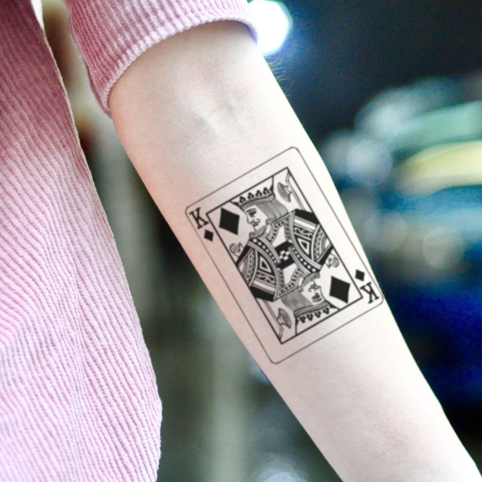 King Of Diamonds Playing Card Temporary Tattoo Sticker Set Of 2 In 2020 Card Tattoo Designs Card Tattoo Tattoo Stickers