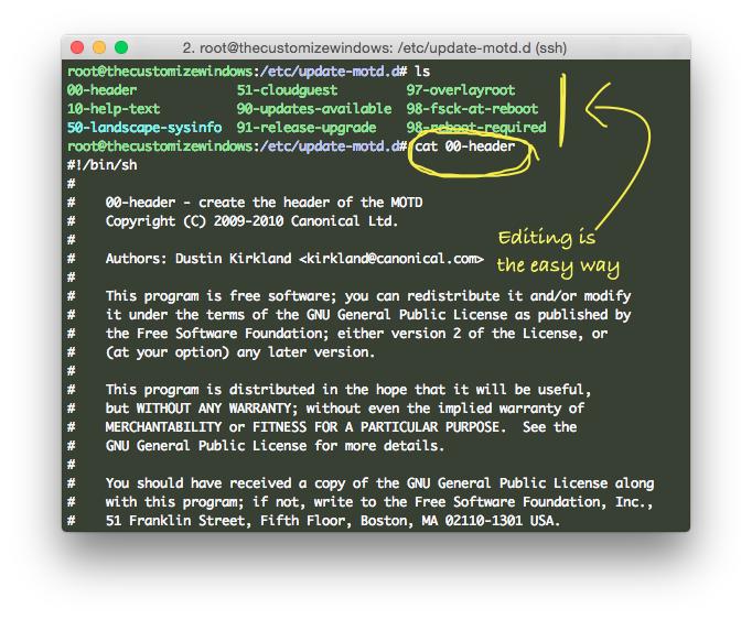 Edit SSH After Login Info (MOTD) on Deb GNU/Linux