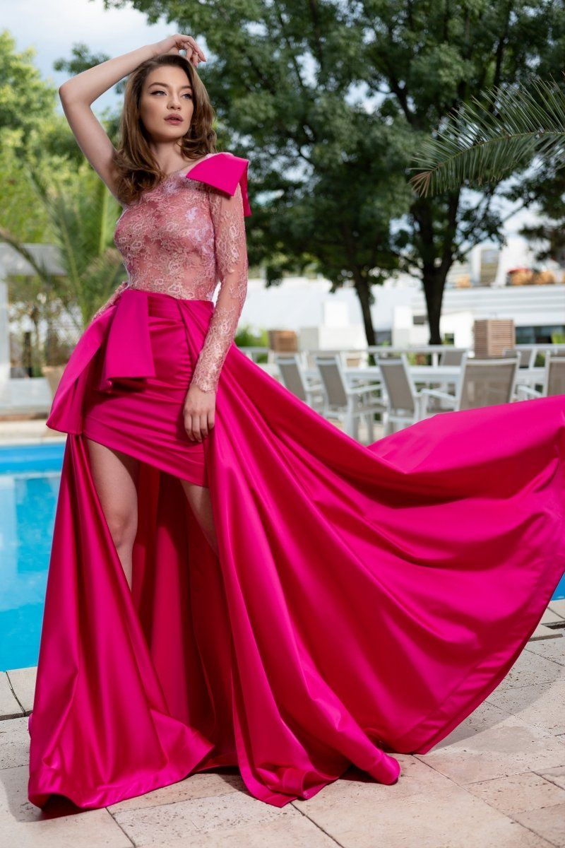 Cristallini Ska 885 Single Long Sleeve High Low Dress Long Sleeve High Low Dress Long Sleeve Evening Dresses Plus Size Lace Dress [ 1200 x 800 Pixel ]