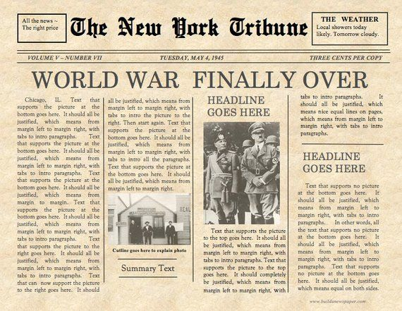 Vintage Front Page Newspaper Template - Instant Download For Unlimited Use