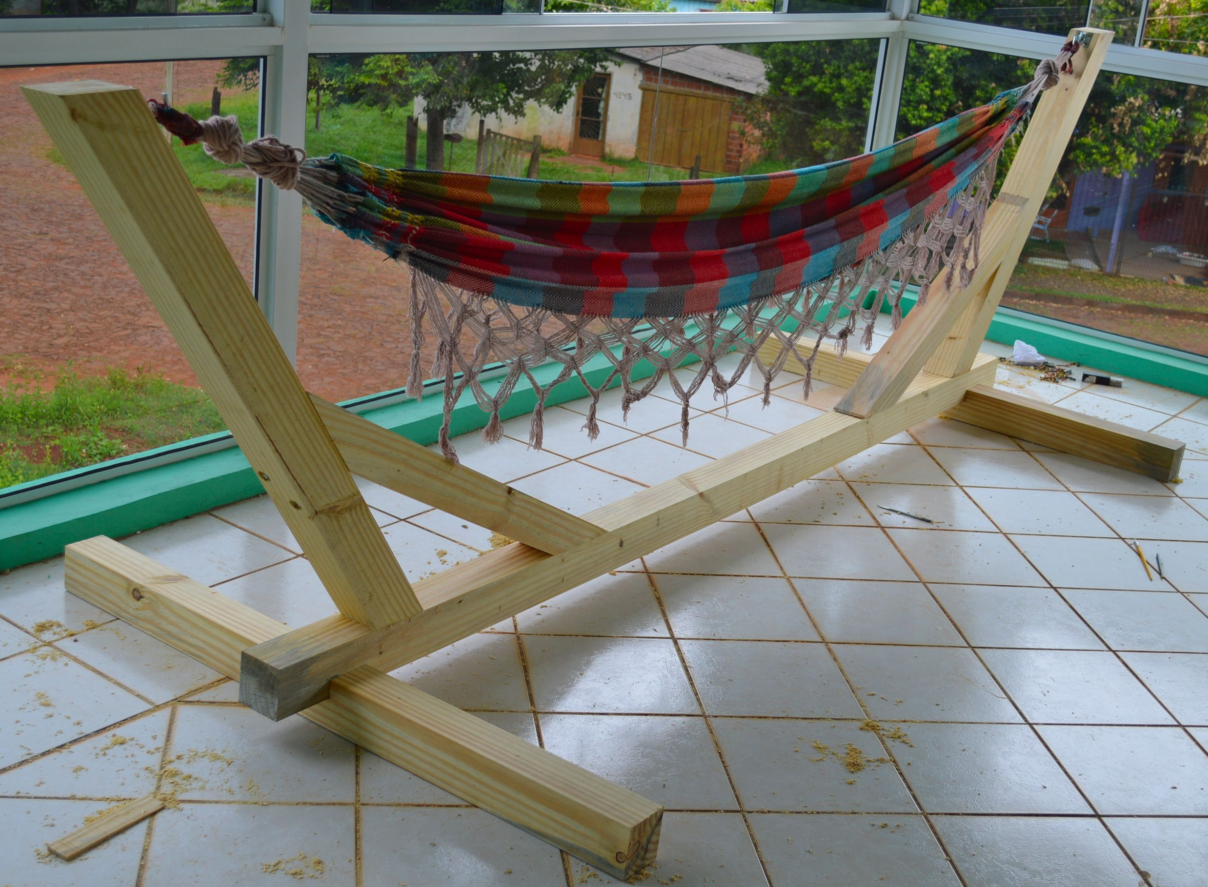 Hammock Stand - Indoor & Outdoor. #woodworking #wood #hammock ...