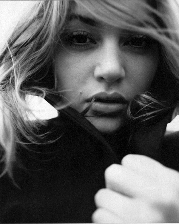 black and white headshot  Kate Winslet