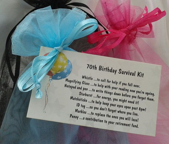 70th Survival Kit Female Male Novelty Birthday By CheerUpCrafts