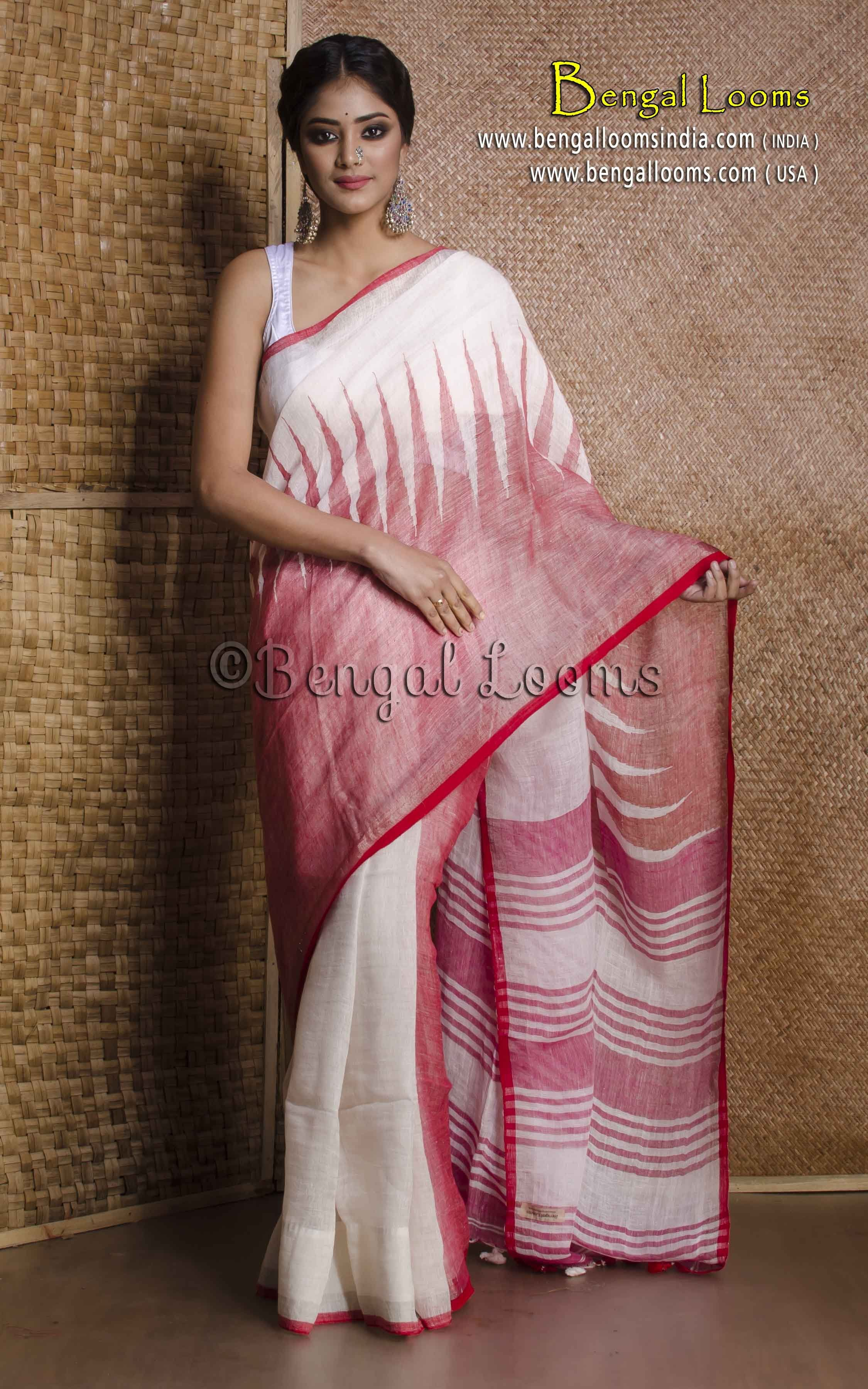 509f3a422f Pure Handloom Temple Border Linen Saree in White and Red | Linen ...