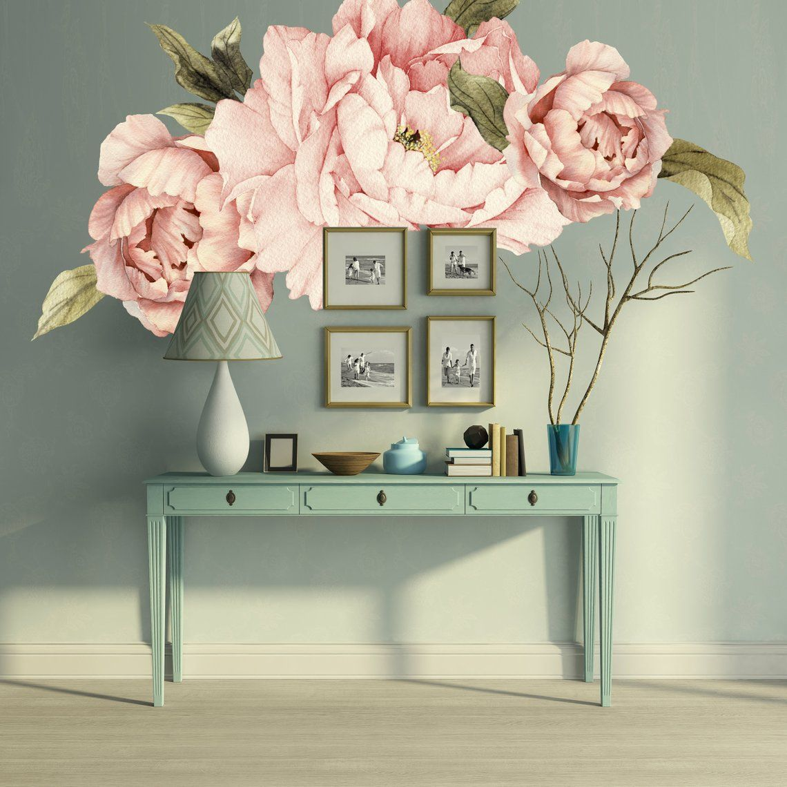 Pink Peony Wall Decal Floral Wall Decals Removable Peel Etsy Floral Wall Decals Wall Decals Floral Wall