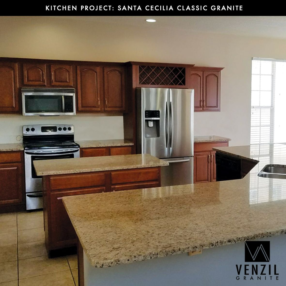 Santa Cecilia Classic Granite Its Elegance And Durability Make It Perfect For Any Home Project Done By Venzil Granite Kitchen Projects Countertops Home Decor