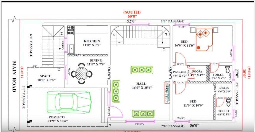 30 Feet By 60 Single Floor Modern Home Plan According To Vastu Shastra