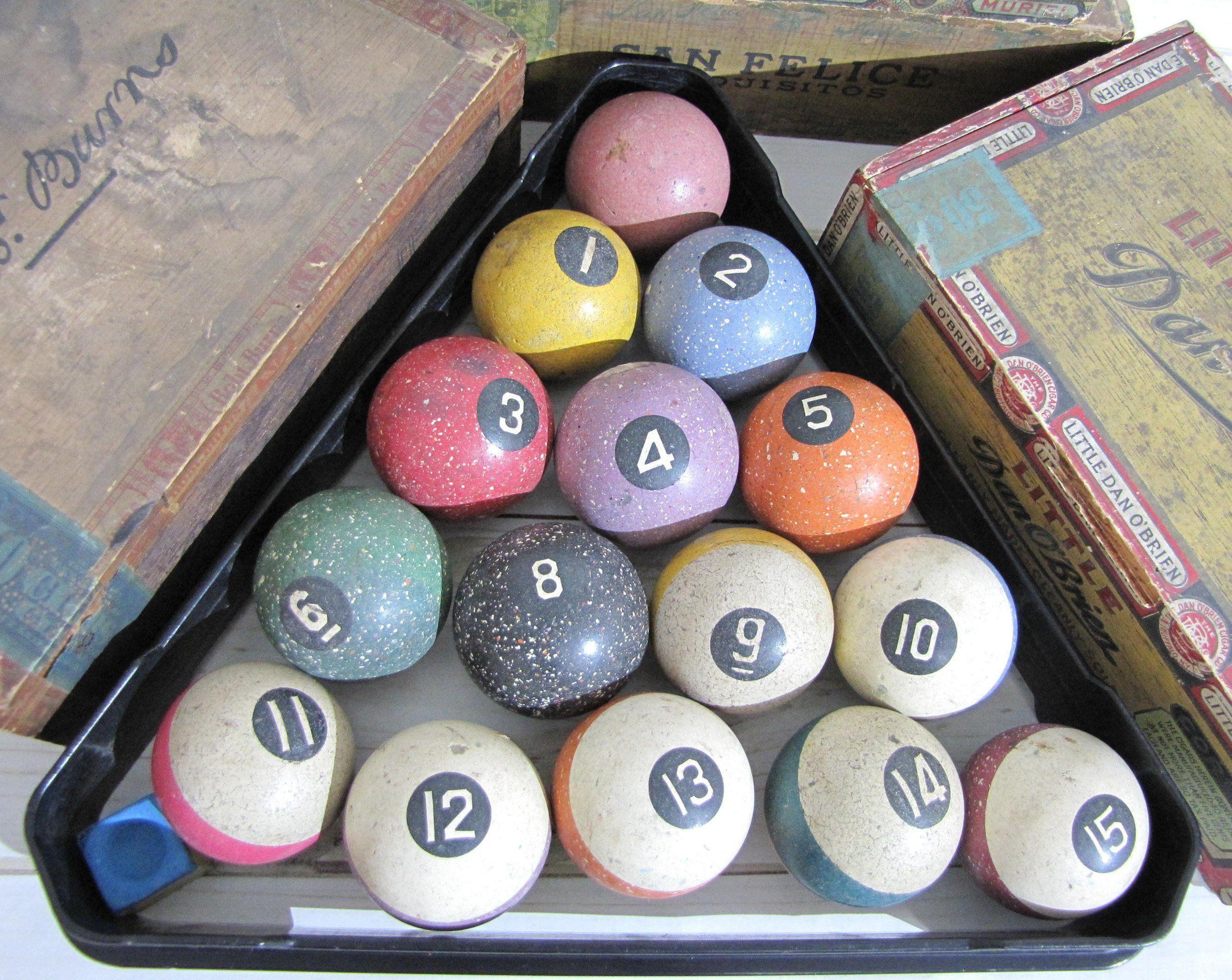 Antique Billiard BallsVintage Pool Balls SpeckledStriped