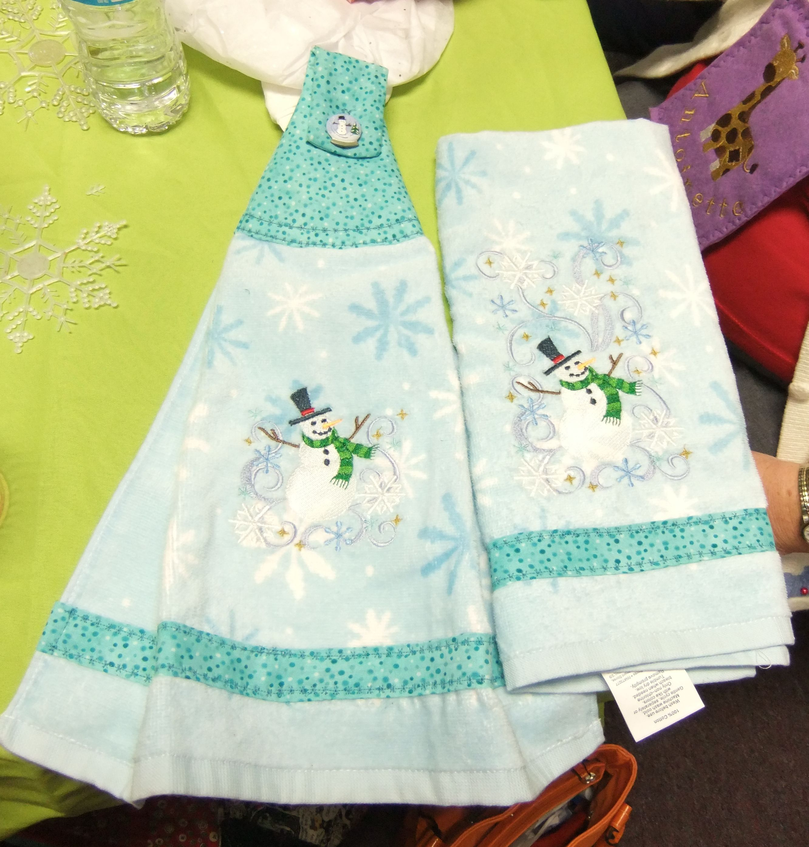 Embroidered Winter kitchen towel set | Machine embroidery ...