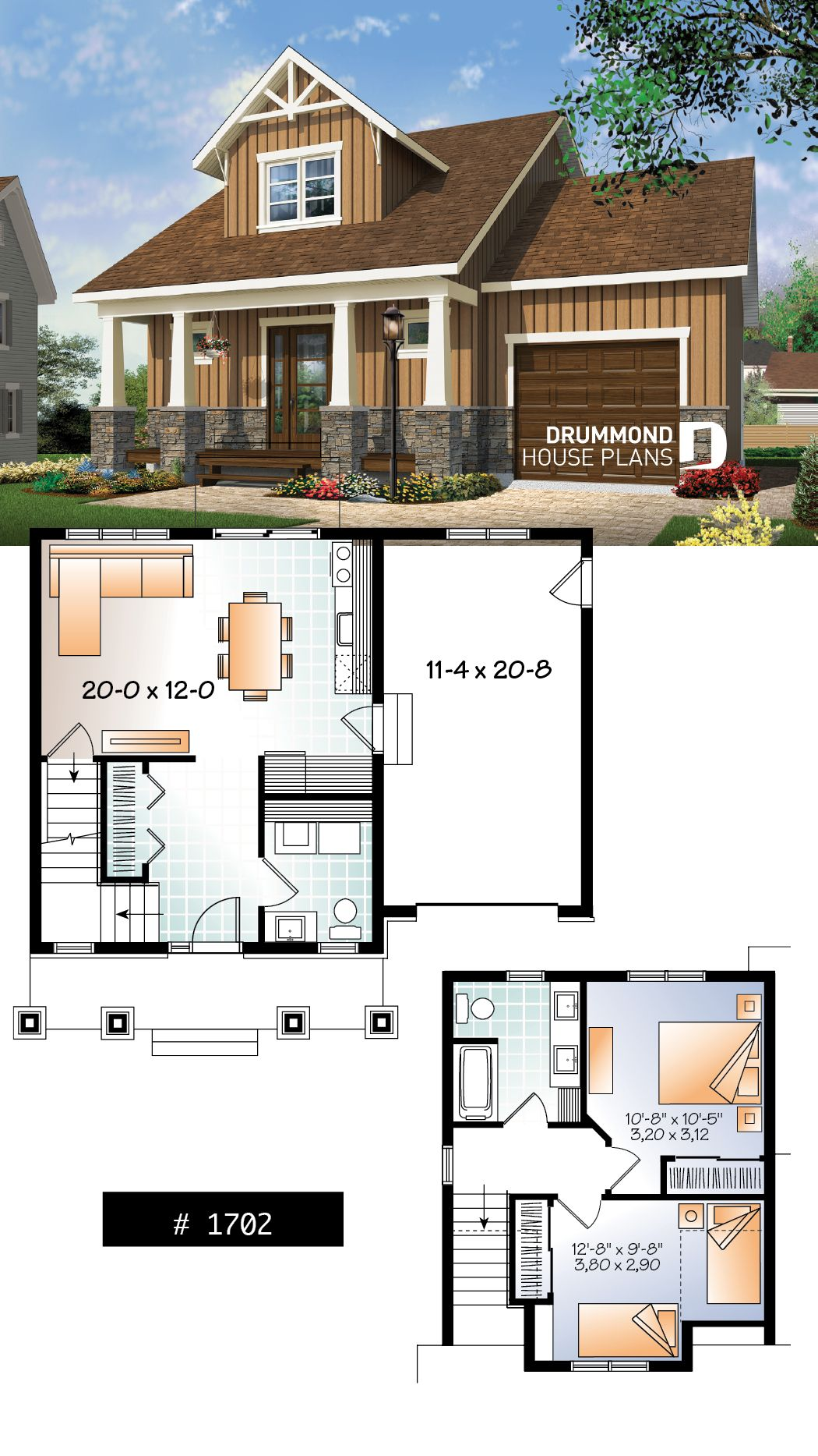 Discover The Plan 1702 Delphine Which Will Please You For Its 2 Bedrooms And For Its Farmhouse Styles Craftsman House Plans Small House Plans Country House Plans