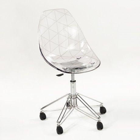 Chaise design sur roulettes coque transparente et mtal Prisma