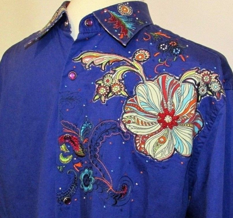 Robert Graham Sz Large Purple Embroidered Floral Western Shirt Snap Flip Cuffs #RobertGraham #Western