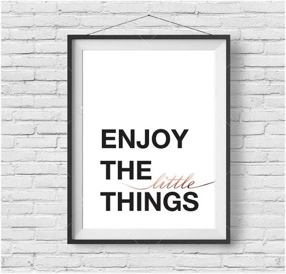 Enjoy The Little Things Print Black  White Rose By Printavenue