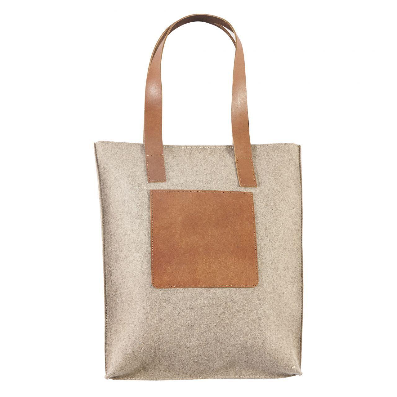 Vlněná taška s koženým uchem Light Leather