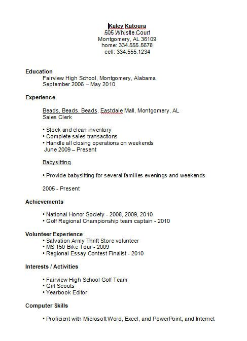 Resume Samples For Highschool Students With No Work Experience High