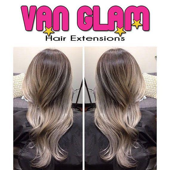 Dark Ash Brown Silver Gray Balayage Halo Flip In Hair Extensions