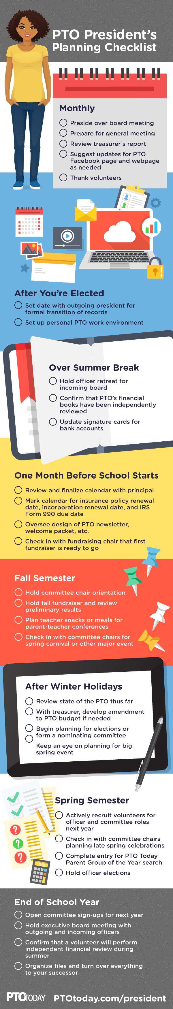 Being a Volunteer PTO Presidentu0027s Planning Checklist