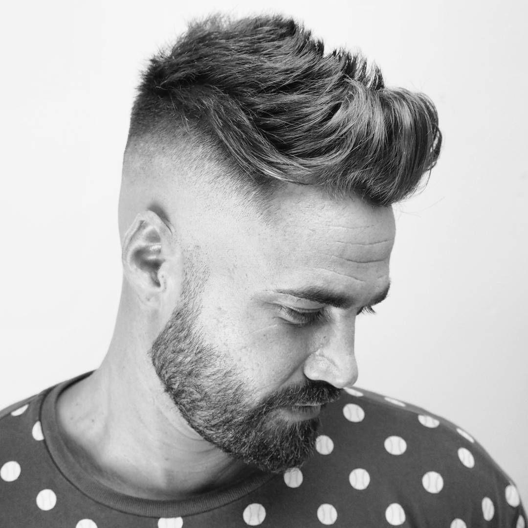 Ambarberia Quiff Haircut Men High Skin Fade With Beard Cool Mens
