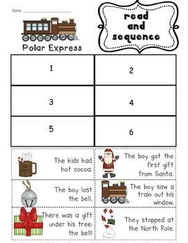 Polar Express Sequencing Printable Polar Express Activities Polar Express Theme Polar Express
