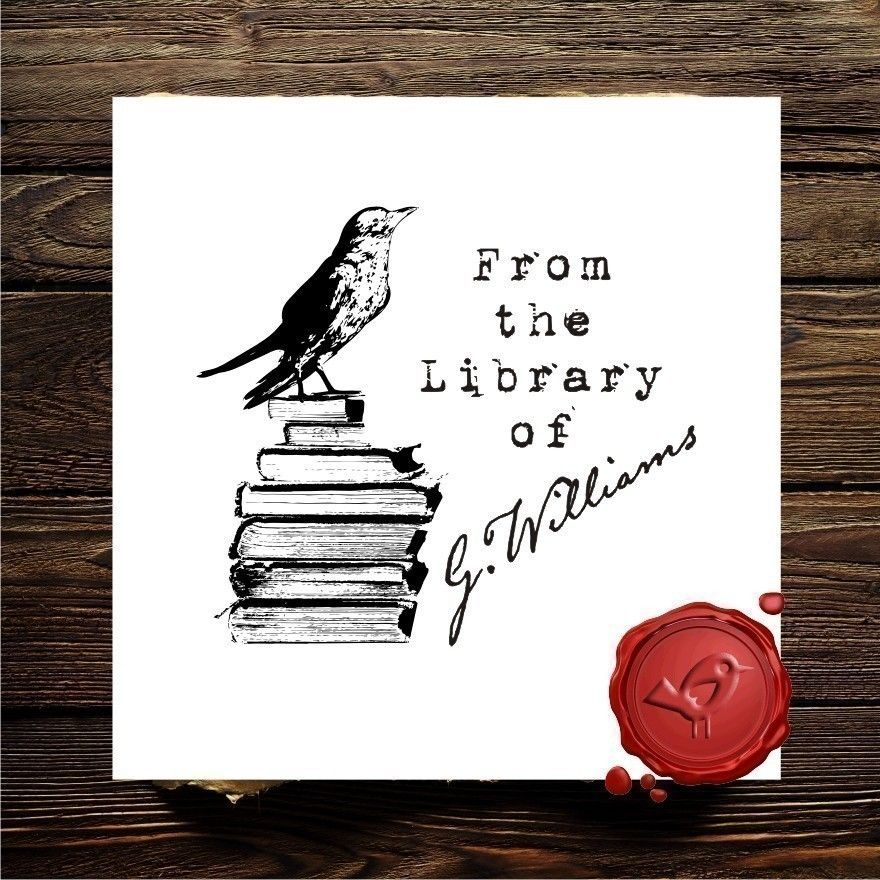 Bird on books ex libris from the library of custom