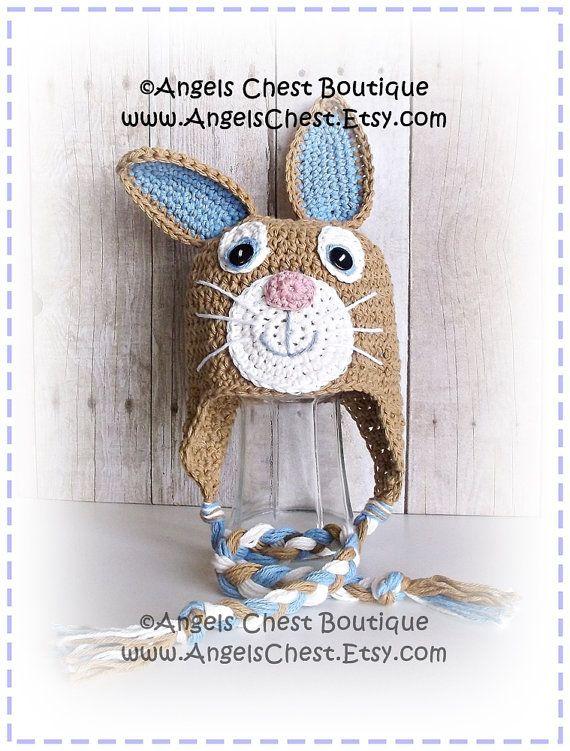 Cute Crochet Rabbit Bunny Beanie Earflap Hat PDF Pattern Sizes ...