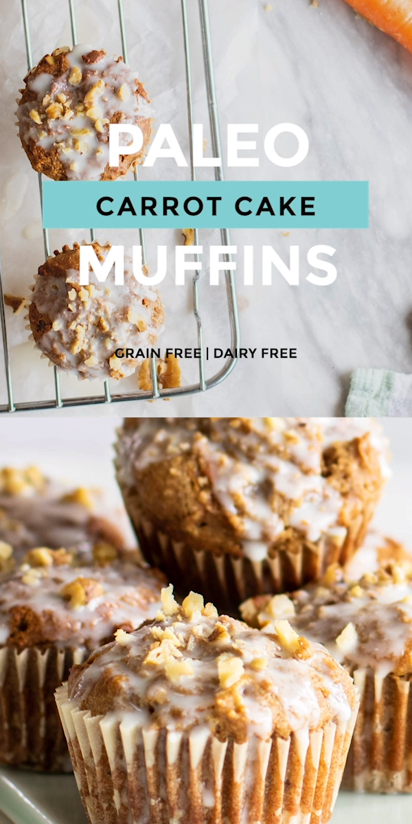 Paleo Carrot Cake Muffins bursting with spice, carrots and crunchy walnuts. Made with a blend of cashew flour (or almond!) and tapioca flour for a super soft grain-free/gluten-free muffin. Lower in sugar too! #paleodiet #grainfree #muffinrecipes #carrotcake #glutenfreebaking #healthymuffins