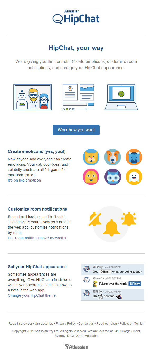 Email Marketing Hipchat Agosto 2015 Http Blog Mailee Me Exemplos Email Marketing Conteudo Newsletters E Mais Tendencias Marketing Blog