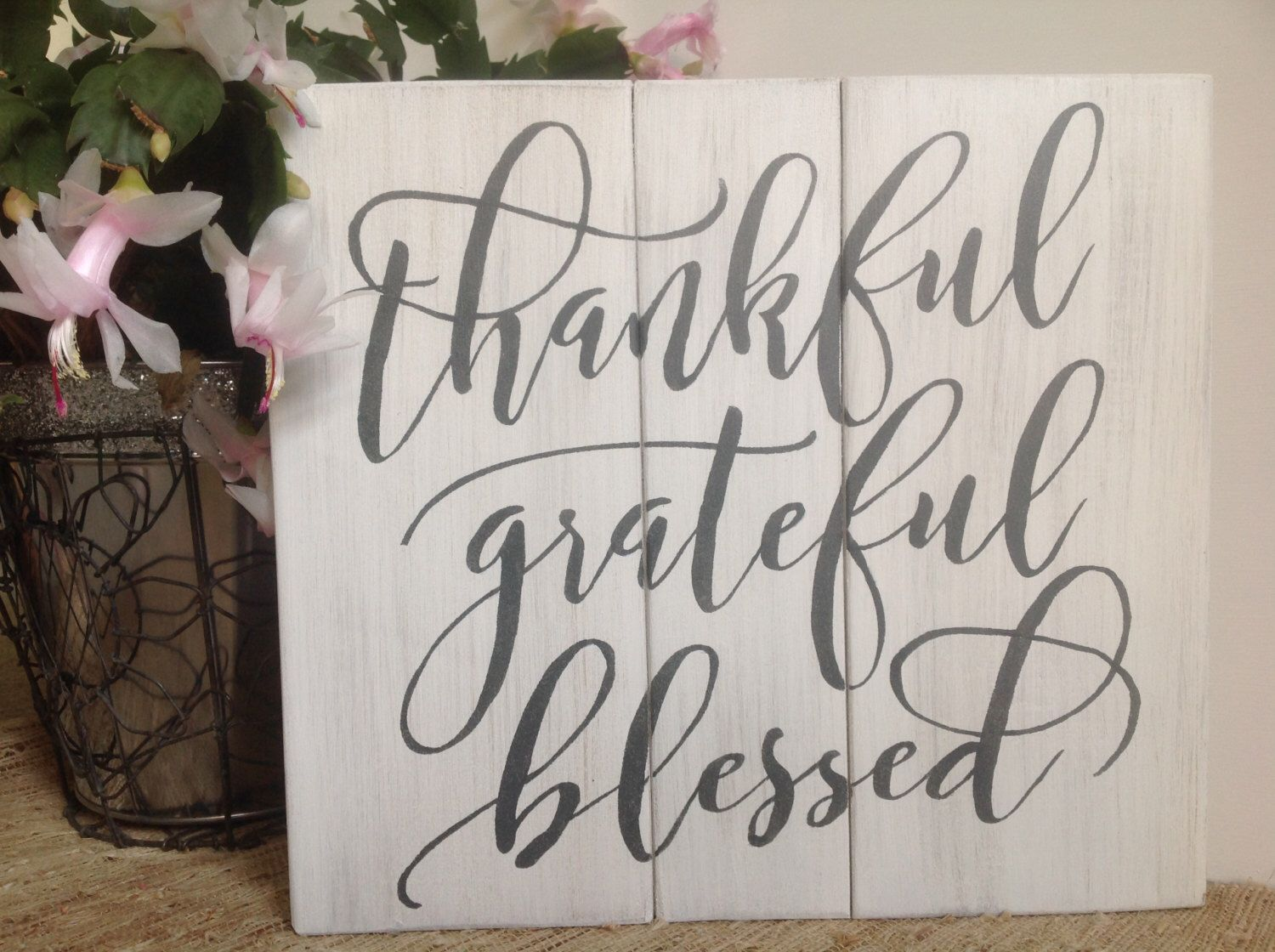 Thankful grateful blessed wood sign pallet sign rustic spiritual thankful grateful blessed wood sign pallet sign rustic spiritual distressed wood sign home decor wall art amipublicfo Images