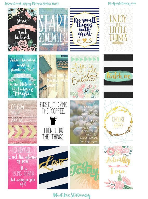 picture relating to Printable Inspirational Quotes Pdf known as Joyful Planner Electronic Inspirational Estimate Finish Box Stickers