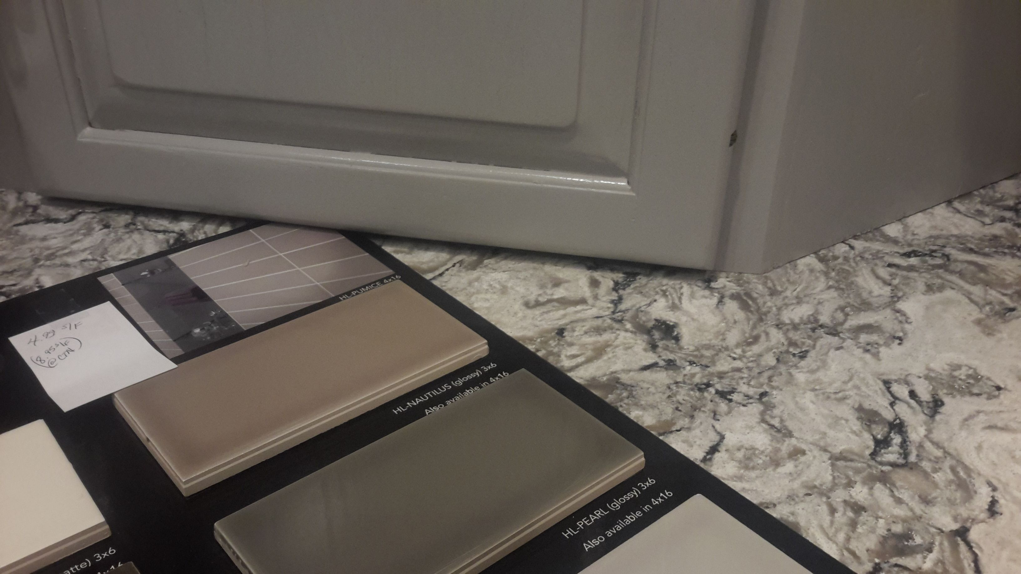 - Cambria Bellingham Counter Tops, Gray Cabinets, HL-pearl