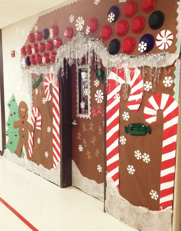Christmas Holiday Door decoration, for school. Gingerbread house door. I spent about $12 on this door decor (school provided paper) but took about 5 hours to do. But so worth it- all the kids really love it! Thanks to a couple pinterest ideas I collaborated from! #christmasdoordecorationsforwork