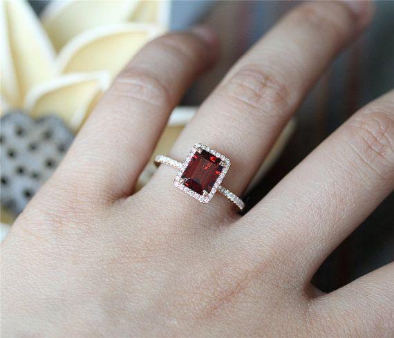 Clical Red Garnet Engagement Ring68mm Emerald Cut By Lerhin