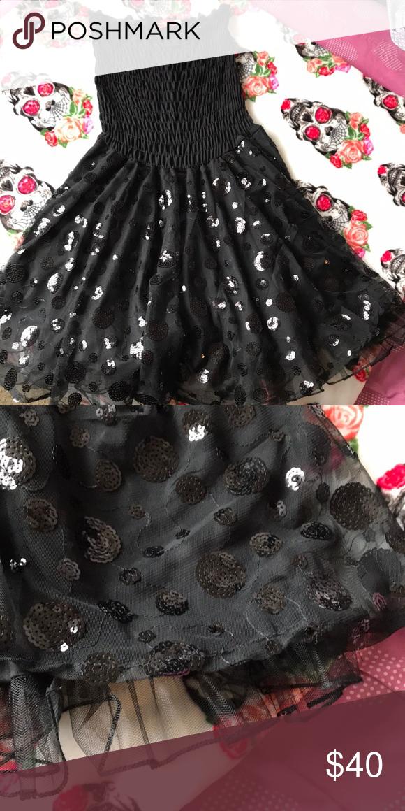 23d4ca70b46 Ruby Rox Sequin Detailed Tube Dress Gorgeous tube dress with sequin polka  dot detail on skirt